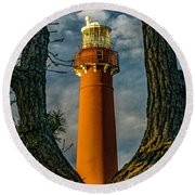 Round Beach Towel featuring the photograph Barrny Thru The Trees by Nick Zelinsky