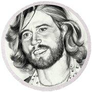 Barry Gibb Portrait Round Beach Towel