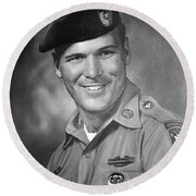 Barry Sadler Photo In Green Beret Uniform Circa 1965 Round Beach Towel