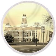 Bartholomew County Courthouse Columbus Indiana - Sepia Round Beach Towel by Scott D Van Osdol
