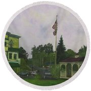 Round Beach Towel featuring the painting Barton Center by Donna Walsh