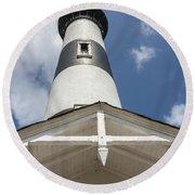 Base Of Bodie Island Lighthouse Round Beach Towel