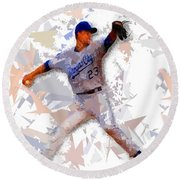 Round Beach Towel featuring the painting Baseball 23 by Movie Poster Prints