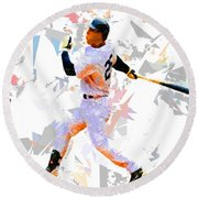 Round Beach Towel featuring the painting Baseball 25 by Movie Poster Prints