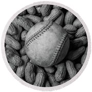 Round Beach Towel featuring the photograph Baseball And Peanuts Black And White Square  by Terry DeLuco