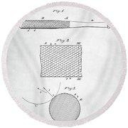 Baseball Bat Patent Round Beach Towel