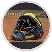 Baseball Catcher Helmet Round Beach Towel