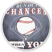 Baseball Chalkboard Inspiration Round Beach Towel