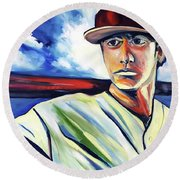 Baseball Crucifix Round Beach Towel
