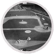 Baseball Game, 1967 Round Beach Towel