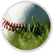 Baseball In Grass Round Beach Towel