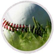 Baseball In Grass Round Beach Towel by Chris Brannen