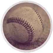 Baseball In Sepia Round Beach Towel