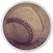 Baseball In Sepia Round Beach Towel