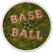 Baseball Round Beach Towel by La Reve Design