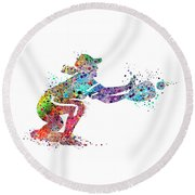 Baseball Softball Catcher 2 Sports Art Print Round Beach Towel