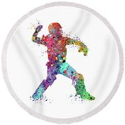 Baseball Softball Catcher 3 Watercolor Print Round Beach Towel