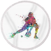 Baseball Softball Catcher Sports Art Print Round Beach Towel