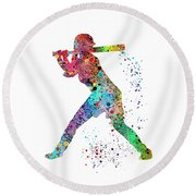 Baseball Softball Player Round Beach Towel