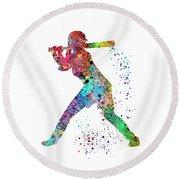 Baseball Softball Player Round Beach Towel by Svetla Tancheva