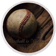 Baseball Yogi Berra Quote Round Beach Towel by Heather Applegate