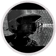 Round Beach Towel featuring the photograph Baseball_guesstamation Art2 Bw by Lesa Fine