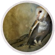 Bashful Barn Owl Round Beach Towel