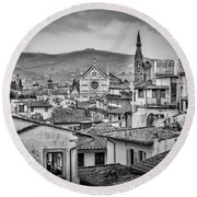 Round Beach Towel featuring the photograph Basilica Di Santa Croce by Sonny Marcyan