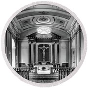 Round Beach Towel featuring the photograph Basilica Of Saint Louis King - Black And White by Nikolyn McDonald