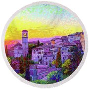 Basilica Of St. Francis Of Assisi Round Beach Towel