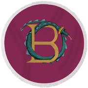 Round Beach Towel featuring the digital art Basilisk Letter B by Donna Huntriss