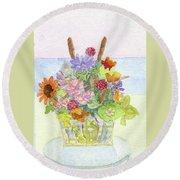Basket Arrangement Round Beach Towel
