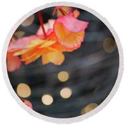 Round Beach Towel featuring the photograph Basket Begonia by Lora Lee Chapman