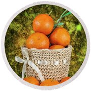 Basket Full Of Oranges Round Beach Towel by Shirley Mangini