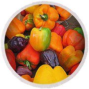 Basket Full O'peppers Round Beach Towel