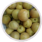 Basket Of Asian Pears Round Beach Towel