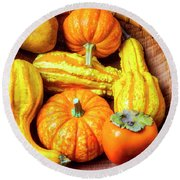 Basket Of Autumn Gourds And Fruits Round Beach Towel