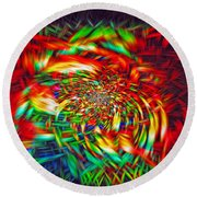 Round Beach Towel featuring the photograph Basket Of Color by Geraldine DeBoer