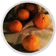 Round Beach Towel featuring the photograph Basket Of Fresh Tangerines by Jaroslaw Blaminsky
