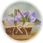 Basket Of Lilacs Round Beach Towel