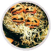Basket Of Little Halloween Horrors Round Beach Towel