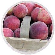 Basket Of Peaches Round Beach Towel