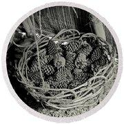 Basket Of Pine Cones Round Beach Towel