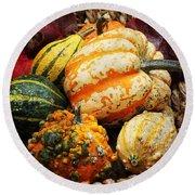 Basket Of Pumpkins Round Beach Towel