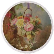 Basket Of Roses With Fuschia, 19th Century Round Beach Towel
