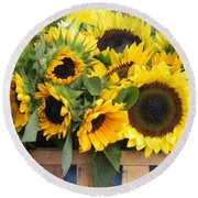 Basket Of Sunflowers Round Beach Towel