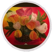 Basket Of Tulips Round Beach Towel