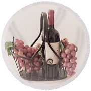 Basket Of Wine And Grapes Round Beach Towel