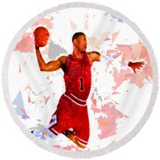 Round Beach Towel featuring the painting Basketball 1 by Movie Poster Prints