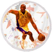 Round Beach Towel featuring the painting Basketball 24 A by Movie Poster Prints